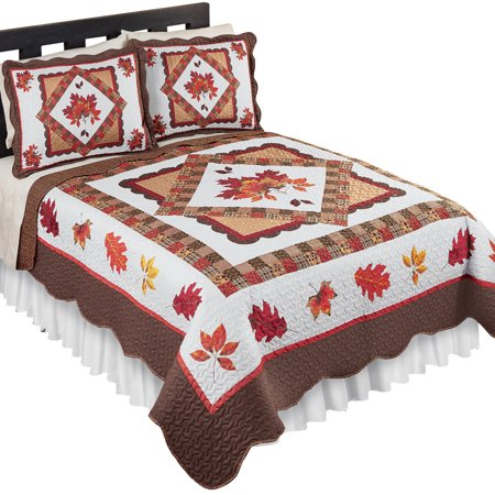 Fall Leaves Patchwork Quilt, Reversible, Holiday Bedroom Décor ()