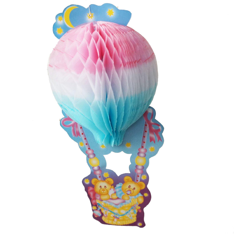 Teddy Bear Baby Shower Centerpiece 3d Honeycomb Hot Air Balloon