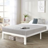 Crown Comfort Twin size Heavy Duty Bed Frame Steel Slat Platform Series Titan E - White