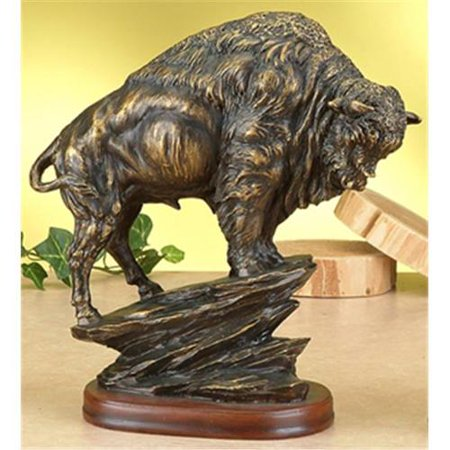 - Antiqued Bronze Finish American Buffalo Statue Bison