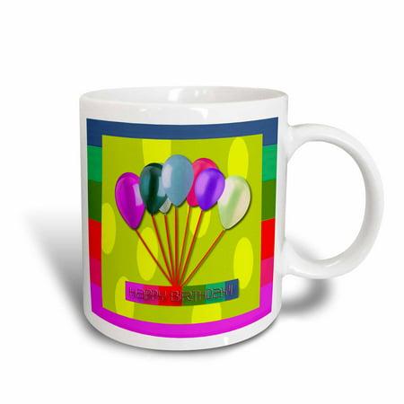 - 3dRose Happy Birthday, Balloons, Yellow , Ceramic Mug, 11-ounce