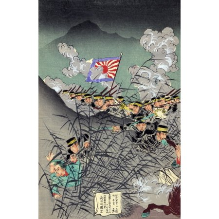 Sino Japanese War 1895 Njapanese Soldiers Using Bamboo As A Screen While Attacking Chinese Troops Who Appear To Be Caught Off Guard Japanese Woodcut 1895 Poster Print by Granger Collection