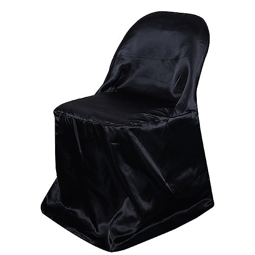 Black Folding Chair Cover Satin Chair Cover