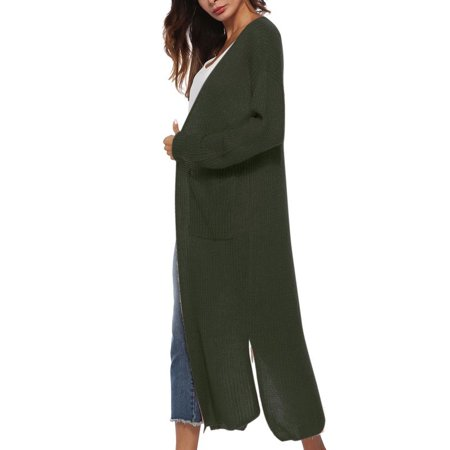 Women Long Cardigan Plus Size Thick Kimono Long Sleeve Sweater Loose Asymmetrical Hem Women Outerwear