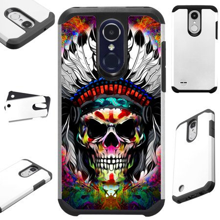 For LG Stylo 3 | LG Stylo 3 Plus Case Hybrid TPU Fusion Phone Cover (Skull Chief FF)
