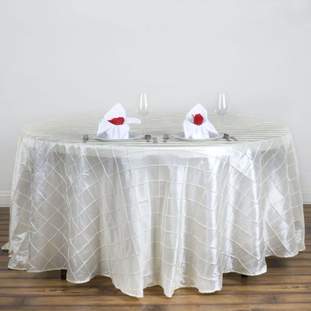 "BalsaCircle 120"" Round Pintuck on Taffeta Tablecloth for Party Wedding Reception Catering Dining Home Table Linens"
