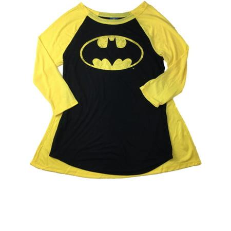 Womens Batman Shirt (Womens Caped Batman Halloween Long Sleeved Tee Shirt Bat)