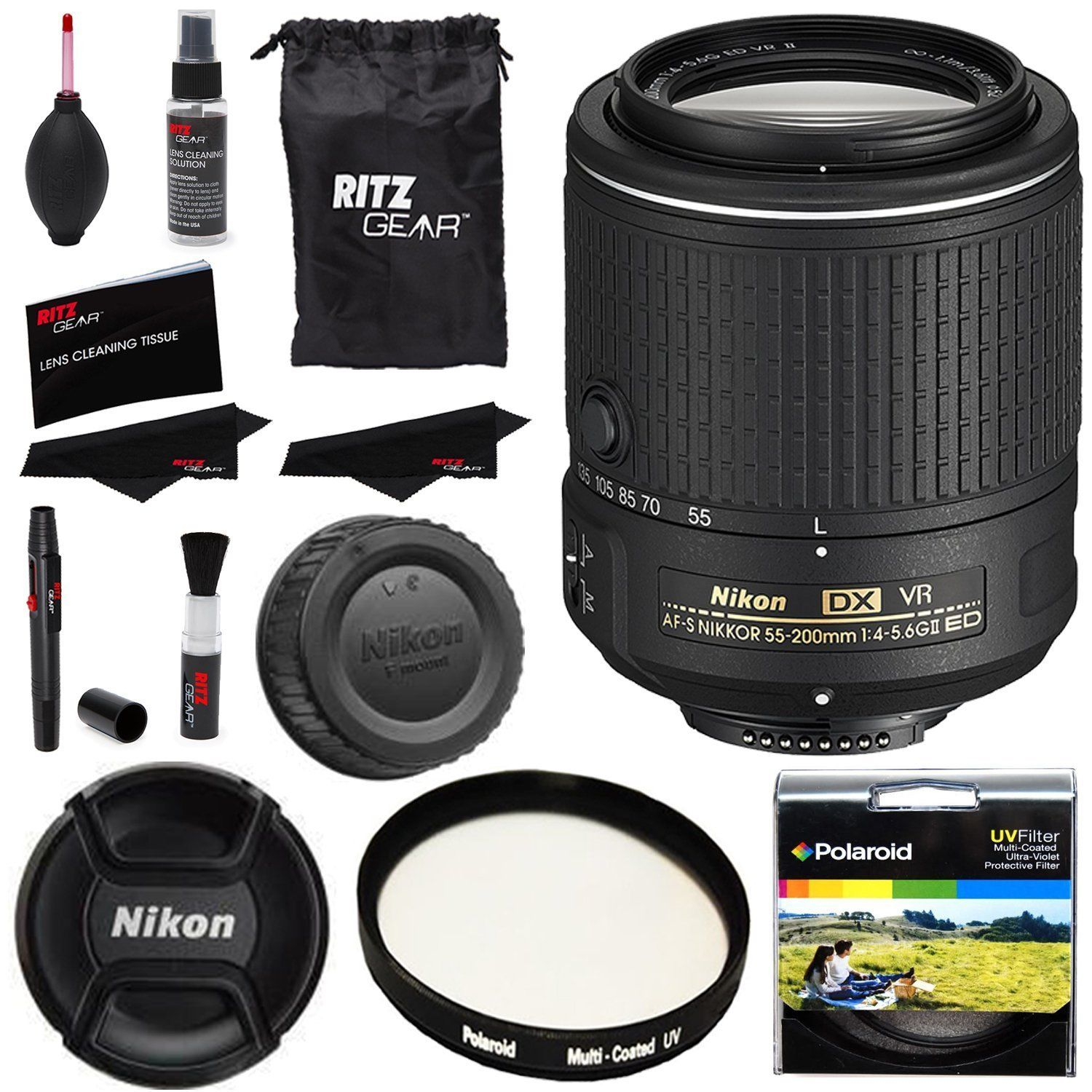 Nikon AFS DX NIKKOR 55-200 f 4-5.6G ED VR II Lens + Polaroid Filter~Cleaning Kit International Version by Nikon