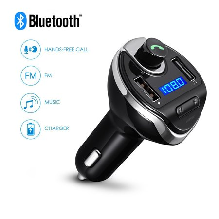 (USB Car Bluetooth FM Radio Transmitter, Jelly Comb Wireless Bluetooth FM Transmitter Radio car auxiliary adapter Car Kit with Dual USB Charging Ports Hands Free Calling for iPhone,ipod, Samsung(Black))