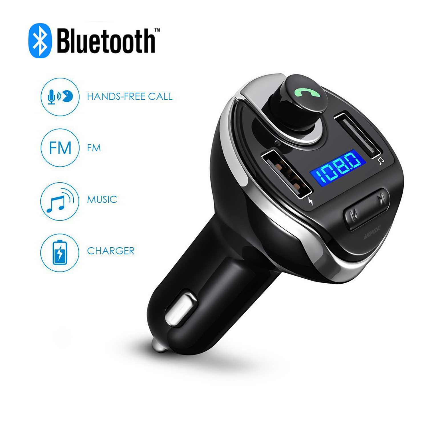 USB Car Bluetooth FM Transmitter, Jelly Comb Wireless Bluetooth FM Transmitter Radio car auxiliary adapter Car Kit with Dual USB Charging Ports Hands Free Calling for iPhone,ipod, Samsung, etc (Black)