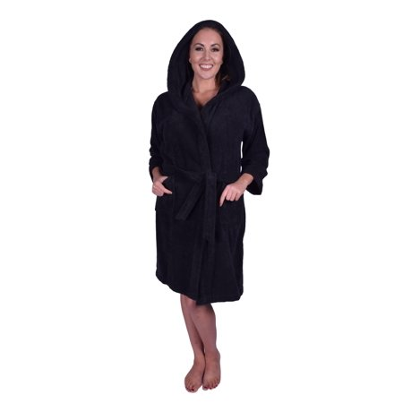 e8ce901f01 Puffy Cotton - Premium Teen   Petite Unisex Hoodie Bath Robe 100% Natural  Soft Cotton - Black - Walmart.com