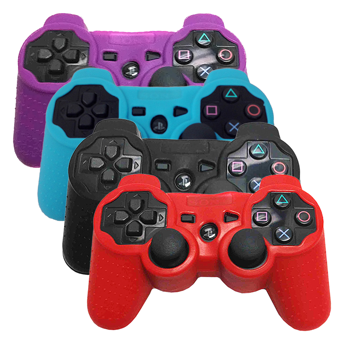 HDE PS3 Controller Skin 4 Pack Combo Silicone Rubber Protective Grip for Sony Playstation 3 Wireless Dualshock Game Controllers (Purple, Blue, Black, Red)
