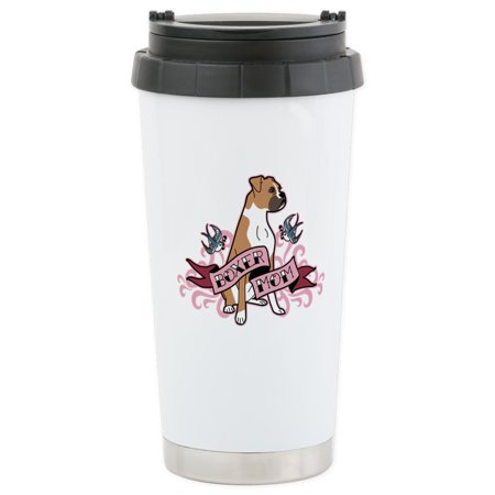 CafePress - Boxer Mom Tattoo Stainless Steel Travel Mug - Stainless Steel Travel Mug, Insulated 16 oz. Coffee Tumbler (Camping Tattoos)
