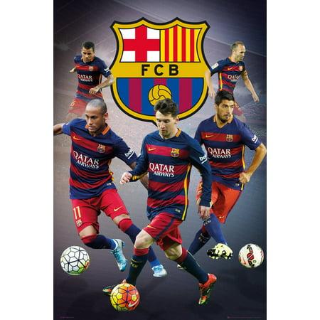 Fc Barcelona   Soccer Poster   Print  Lionel Messi  Neymar Jr   Luis Suarez      Size  24   X 36
