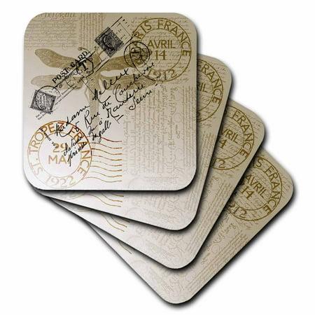 - 3dRose Vintage Dragonfly French Postcard, Ceramic Tile Coasters, set of 4