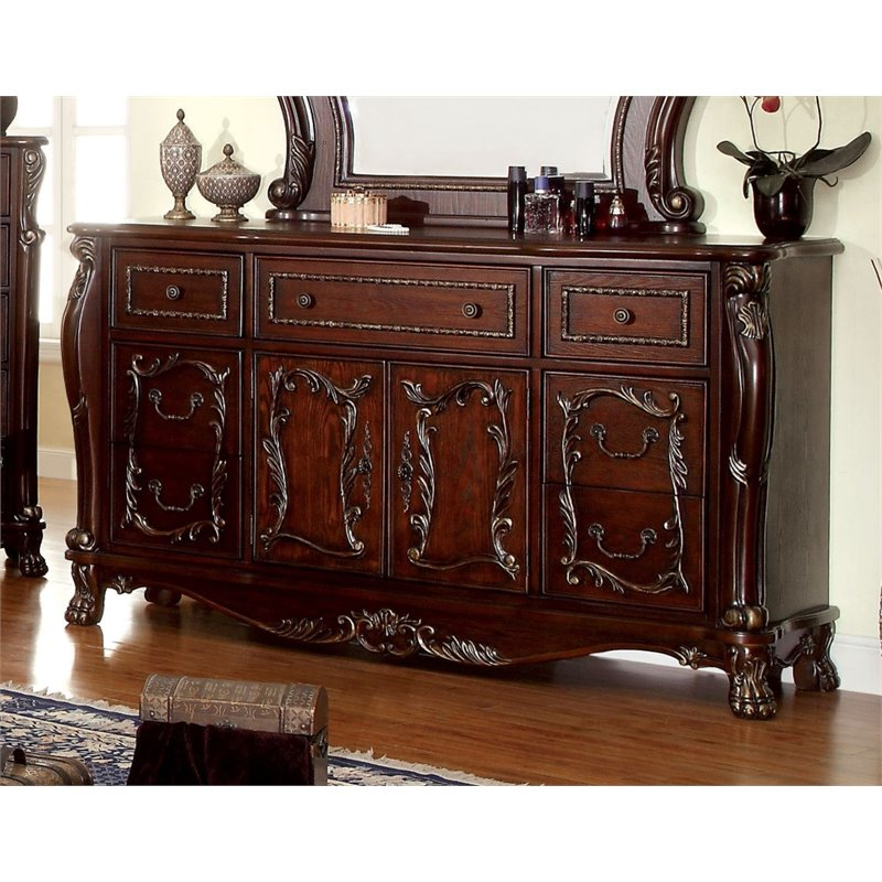 Furniture of America Coppedge 7 Drawer Dresser in Cherry