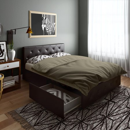 DHP Dean Black Faux Leather Upholstered Queen Bed with Storage ()