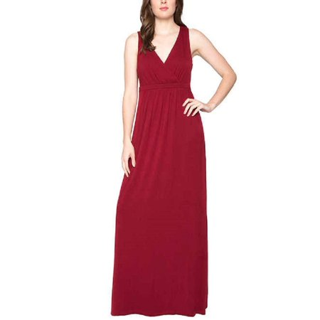 Matty M Ladies' Maxi Dress Casual Formal Beach Wear - Plus Sizes Too, Small, Red (Casual Formal Wear)