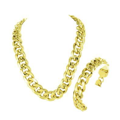 Miami Cuban 14k Gold Finish Bracelet Stainless Steel 14 MM Solid Lobster (Gold Cuban Bracelet)