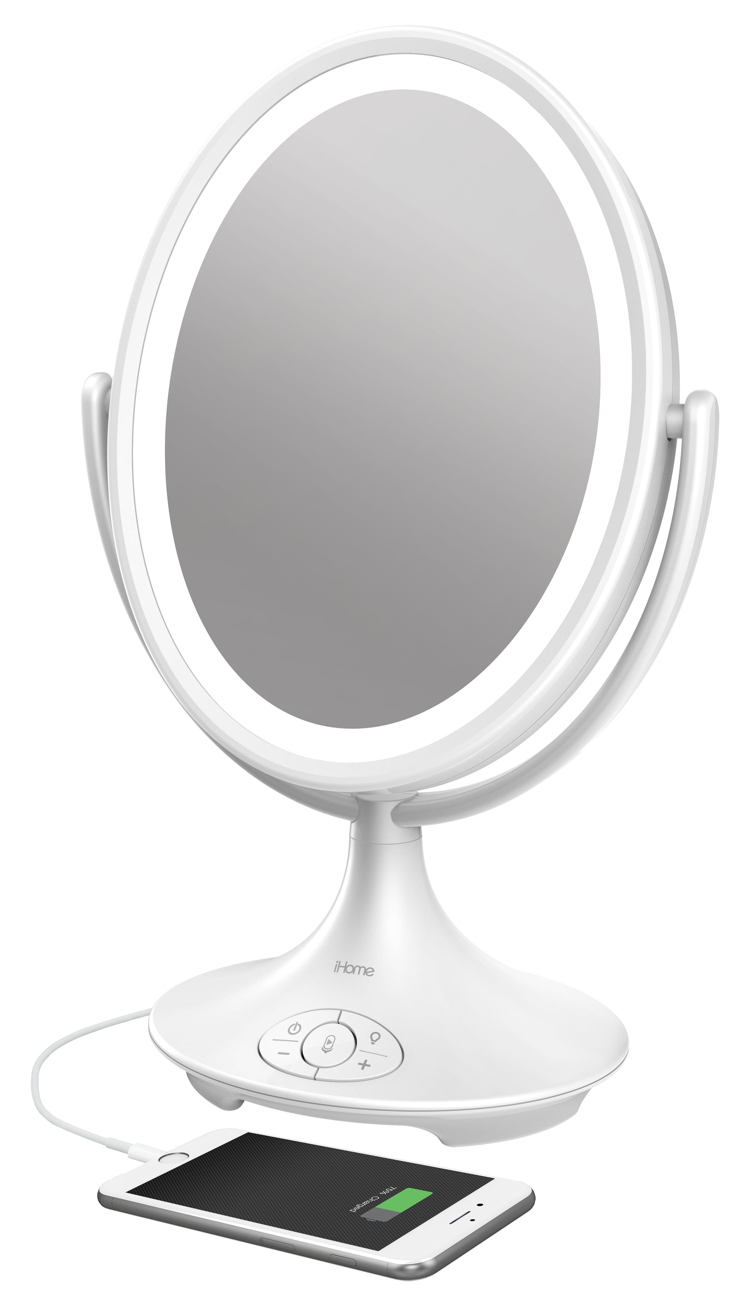 Ihome Magnify Vanity Mirror Icvbt6 6 Double Sided Vanity Mirror Makeup Mirror Led With Bluetooth Audio Speakerphone And Usb Charging Walmart Com Walmart Com