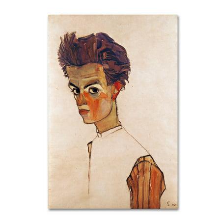 Trademark Fine Art 'Self Portrait With Striped Shirt' Canvas Art by Egon (Egon Schiele Self Portrait With Striped Shirt)