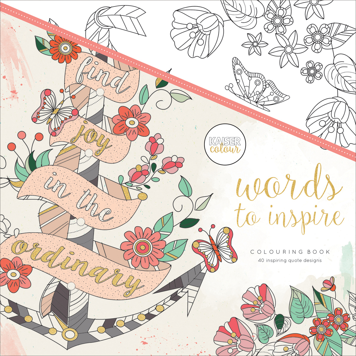 """KaiserColour Perfect Bound Coloring Book 9.75""""X9.75""""-Words To Inspire"""