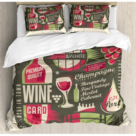 Wine Duvet Cover Set Queen Size, Retro Poster Pattern with Alcoholic Hard Drinks Bottles Merlot Cabernet Restaurant, Decorative 3 Piece Bedding Set with 2 Pillow Shams, Multicolor, by -