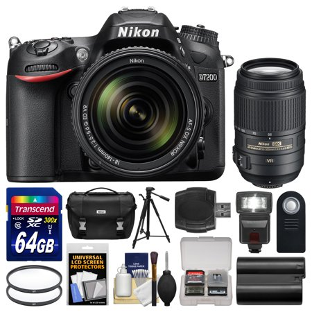 nikon d7200 wi fi digital slr camera 18 140mm vr dx 55 300mm vr lens with 64gb card case. Black Bedroom Furniture Sets. Home Design Ideas