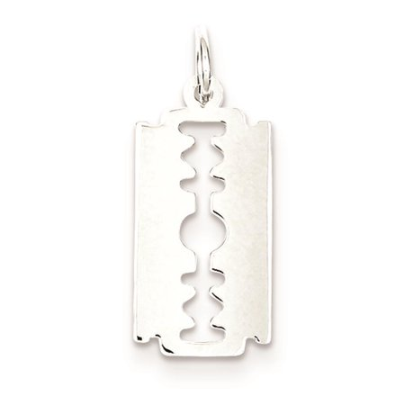 - 925 Sterling Silver Razor Blade Solid Charm Pendant 20mmx10mm