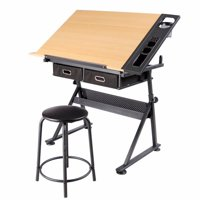 Adjustable Height Drawing Table Drafting Desk with P2 Tiltable Tabletop, Stool and 2 Drawers