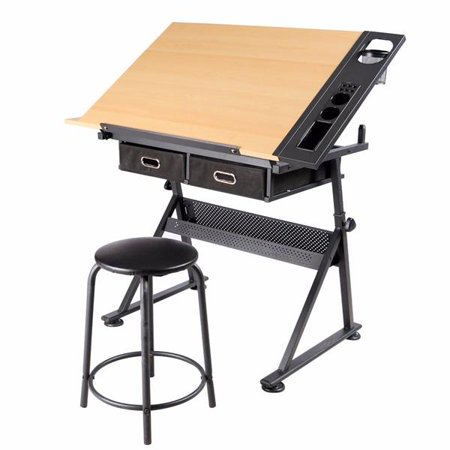 Draper Tabletop - Adjustable Height Drawing Table Drafting Desk with P2 Tiltable Tabletop, Stool and 2 Drawers