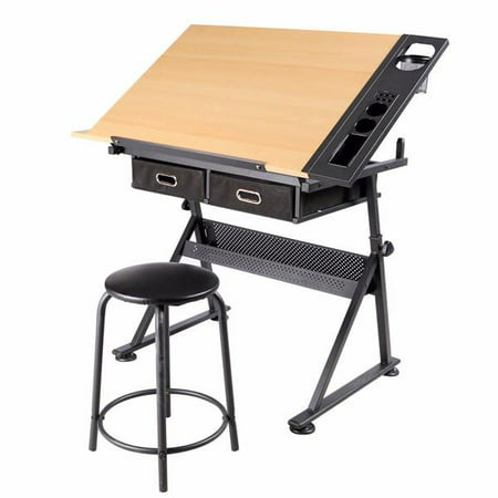 Adjule Height Drawing Table Drafting Desk With P2 Tiltable Tabletop Stool And 2 Drawers
