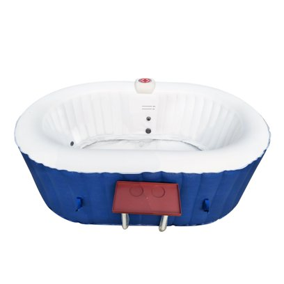 ALEKO HTIO2BLD 2 Person 120 Gallon Oval Inflatable Hot Tub Spa With Drink Tray and Cover