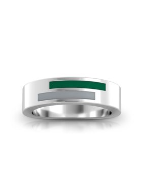 Babson College Asymmetric Enamel Ring In Green And Grey