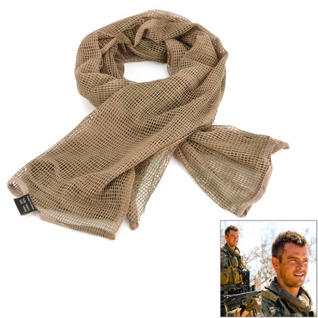 (Men Outdoor Tactical Military Net Head Neck Scarf Wrap - Three Sand Camouflage)