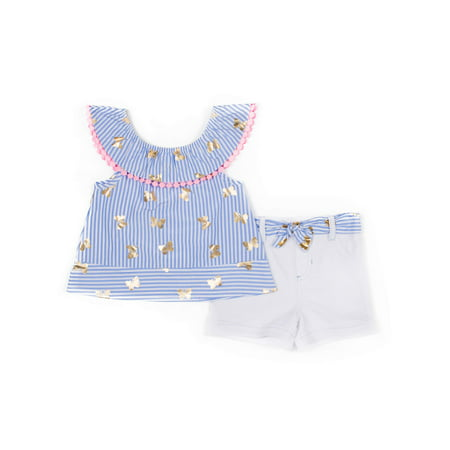 Chambray Tassel Top and Belted Short, 2-Piece Outfit Set (Little Girls)
