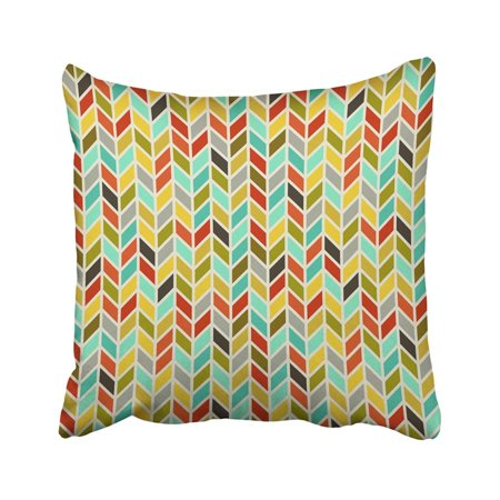 WOPOP White Herringbone Colored Chevron Pattern Yellow Abstract Artistic Classic Drawing Graphic Pillowcase Throw Pillow Cover Case 20x20 -