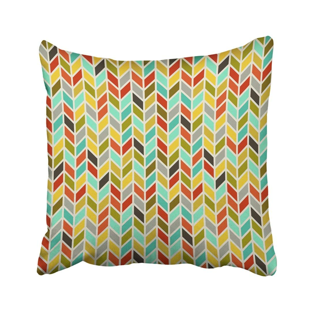 BPBOP White Herringbone Colored Chevron Pattern Yellow Abstract Artistic Classic Drawing Graphic Pillowcase Throw Pillow Cover Case 16x16 inches