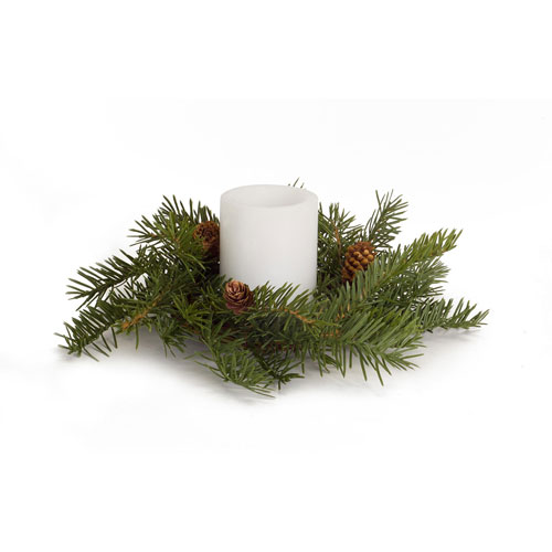 """Pack of 6 Tranquil and Handsome Green Pine and Pine Cone Candle Wreathes 12""""D"""