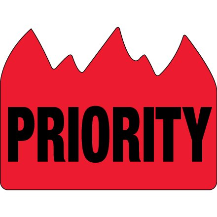 DL1391 Red / Black 1 1/2 Inch x 2 Inch Priority (Bill of Lading) Flame Labels Made In USA ROLL OF 500 ()