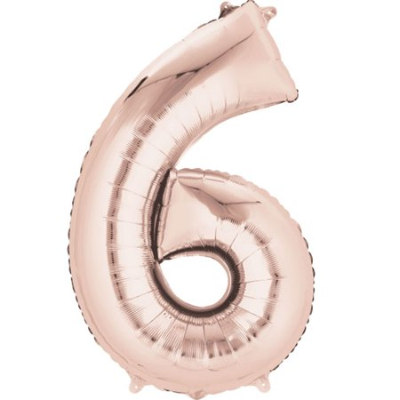 Giant Rose Gold Number 6 Foil Balloon 34