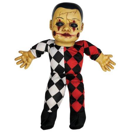 Haunted Doll Hellequin Halloween Decoration - Halloween Makeup Dolls