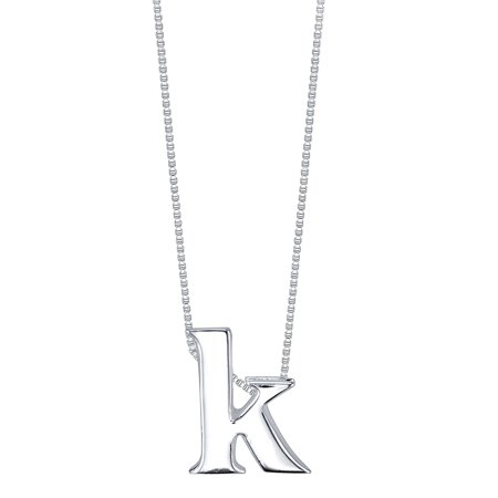 Sterling Silver Slide Initial Pendant Necklace, 18