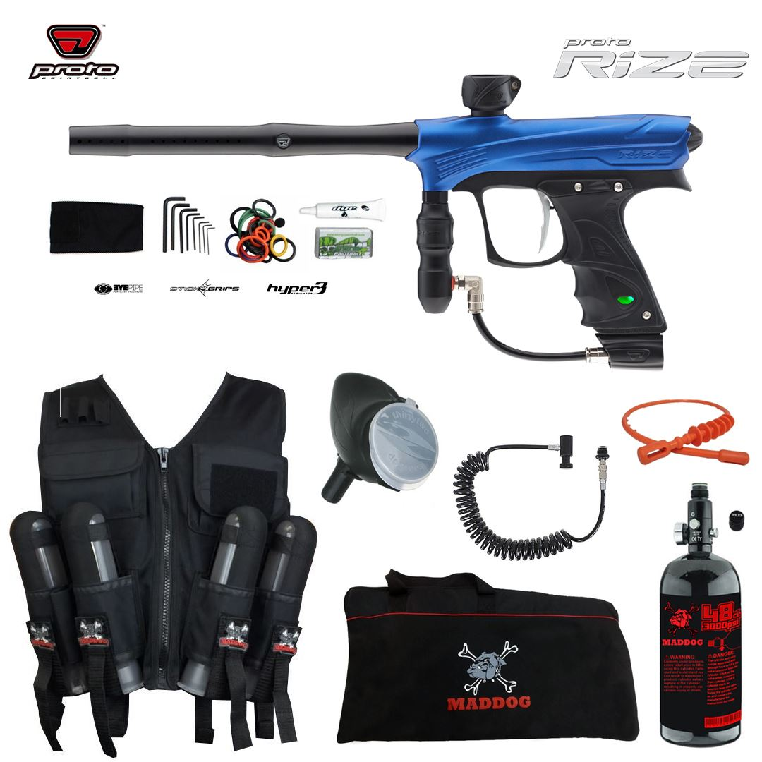 Click here to buy Proto Rize Maddog Lieutenant HPA Sport Vest Paintball Gun Package Blue Dust.