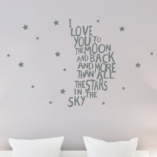 Wallums Wall Decor I Love You to the Moon and Back Wall Decal