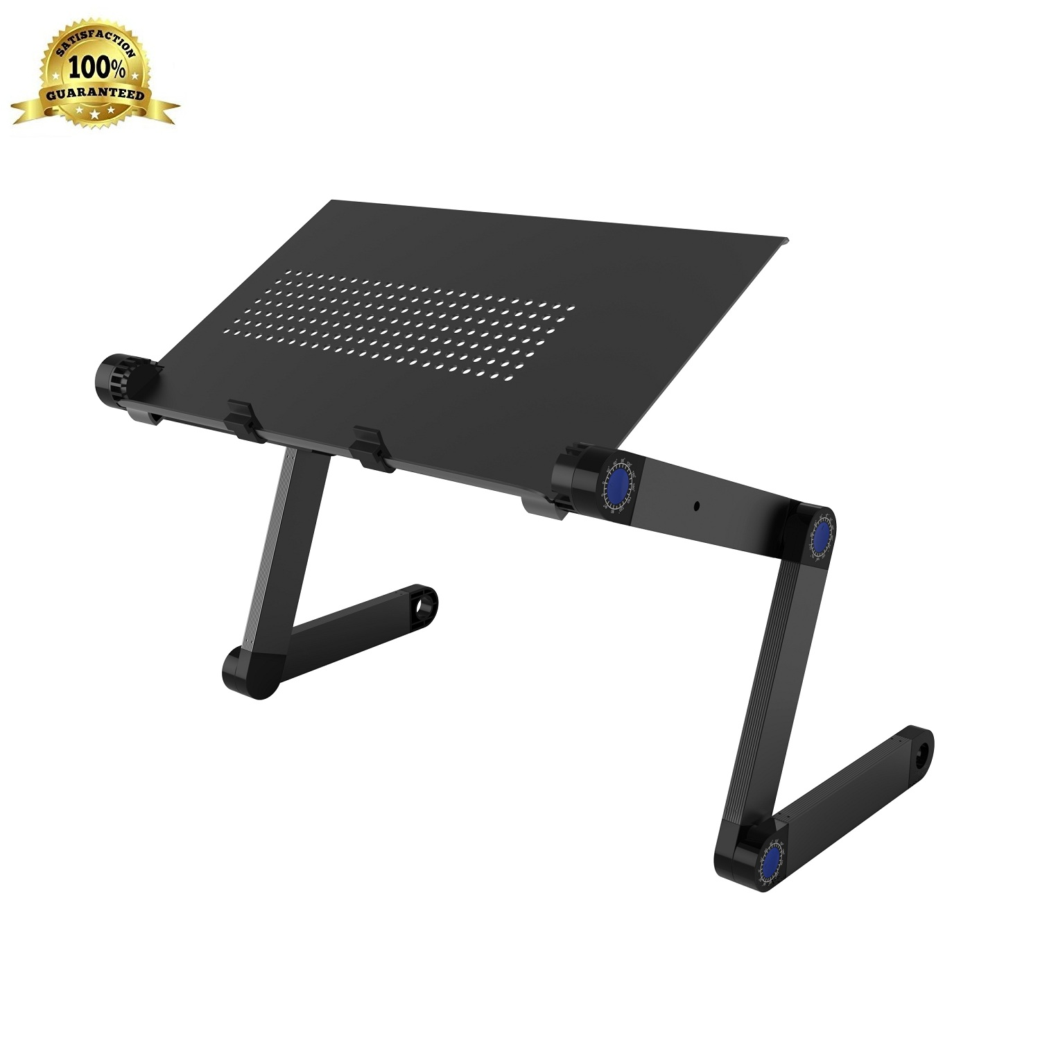 Adjustable Aluminum Laptop Stand, SLYPNOS Folding Portable Standing Desk Ergonomic Vented Laptop Riser Tablet Holder Notebook Tray with 2 Edge Stoppers for Desk Bed Couch Sofa Floor