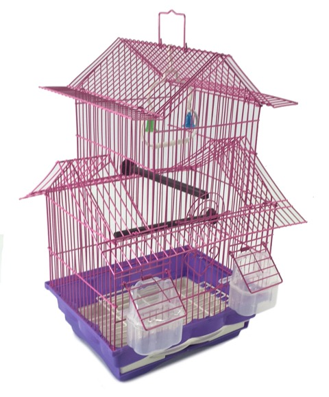 Bird Cage House Style Pink Starter Kit, Swing Perch Feeders Two Story by