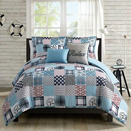 Nautical Comforter Sets - Coastal Collection 5 Piece Comforter Set - Nautical - Patchwork- Full/Queen