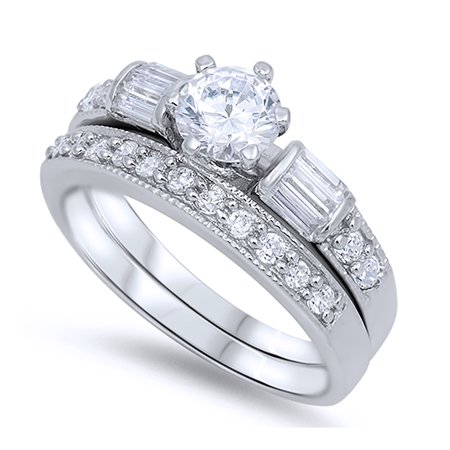 Men Women Sterling Silver Round CZ Vintage Wedding Ring Matching Band Bridal Sets 6MM ( Size 4 to 13 -