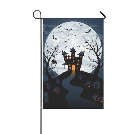 MKHERT Halloween Castle Garden Flag Banner Decorative Flag for Wedding Party Yard Home Outdoor Decor 12x18 inch